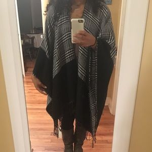 Black and plaid reversible poncho/scarf blanket