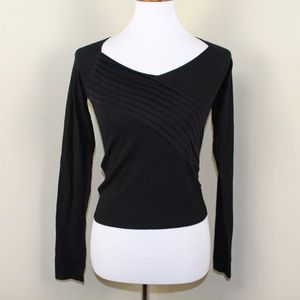 Armani Exchange Black Long Sleeve Cropped Top