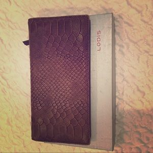 Brand new Lodis brown leather wallet
