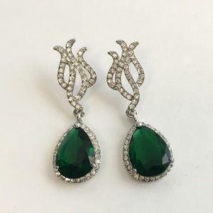 Emerald green rhinestone formal dangle earrings