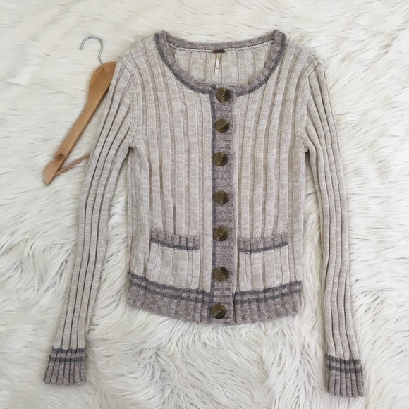 Free People Sweaters - Free People Lavender and Oatmeal Cardigan