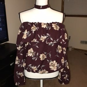 Long sleeve blouse size Large wine color