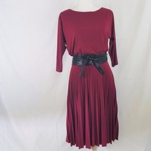 WHBM Pleated Belted Blouson Dress