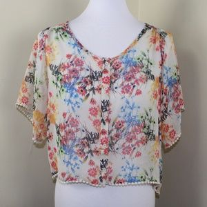 Mudd Sheer Floral Flutter Sleeve Crop Top