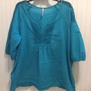 Old navy crochet accent boho blouse