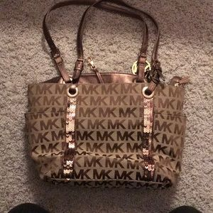 Brown Michael Kors bag with sequins