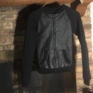 Black Front Leather Paneled Jacket (OBO)