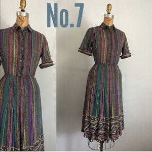 Vintage multi color stripes dress