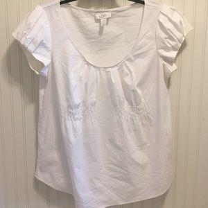 LOFT pleat sleeve cinch front blouse