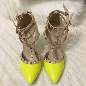 Wild Diva Strappy Stud Pumps-Yellow (like Versace)