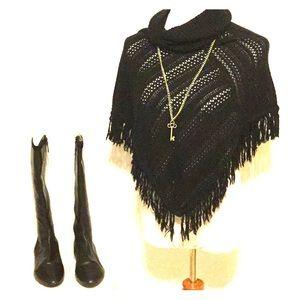 Black Crochet Poncho