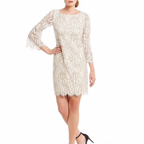 Jessica Howard Bell Sleeve Lace Dress Tanblack Nwt