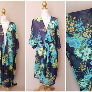 Sheer Blue Tropical Print Kimono Robe Cover Up