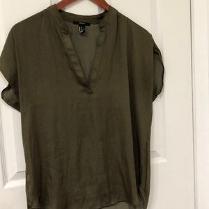 forever 21 olive silk top