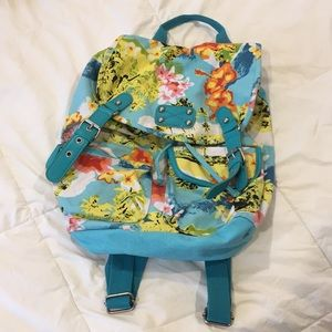 Blue and Floral Backpack