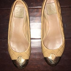 Tory Burch Camel Quilted Flats