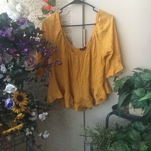 Golden cropped peasant blouse
