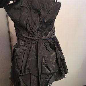 Bebe Dress - gunmetal grey. Zippers, studs, lined