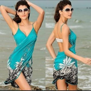 Wrap around swimsuit cover dress