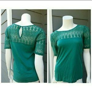 Emerald Green J. Crew Lace Shoulder Top