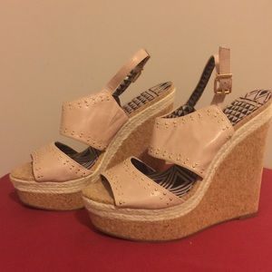Jessica Simpson Leather Pink Wedge Sandals