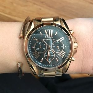 Michael Kors link watch, rose gold, black face