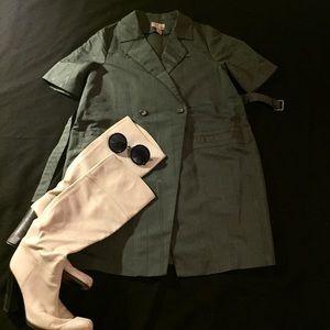 Vintage Style Short Sleeve Trench-coat Dress