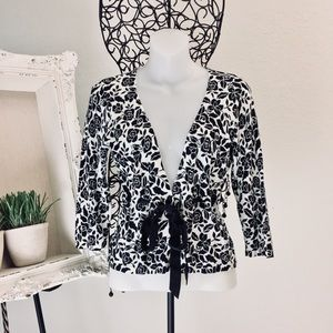 WHBM floral black and white cardigan.