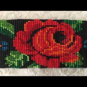 Rose Bead Cuff Bracelet