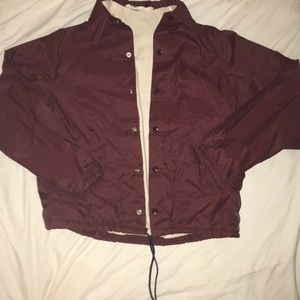MAROON WINDBREAKER WITH COTTON LINING