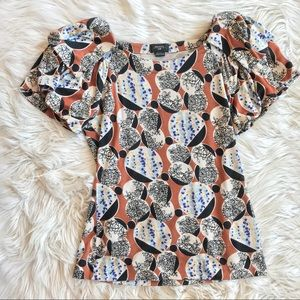 Anthro Deletta Brown Floral Abstract Blouse