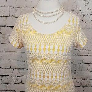 Tiana B. Yellow lace covered Sheath dress SZ Lg