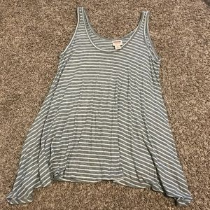 Grey and white Striped Ribbed Loose Tank Top