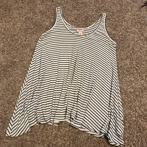 Cream and Black Striped Ribbed Loose Tank Top
