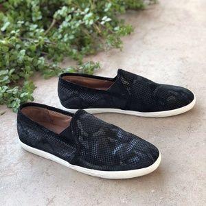 Joie Kidmore Black Snakeskin Sneakers Slip-Ons