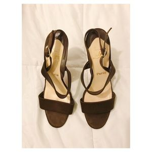Authentic Louboutin brown satin sandals size 41