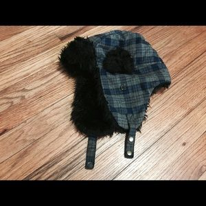 Men's winter hat. Warm, with ears covers.
