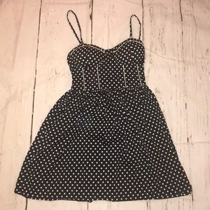 Navy and white polka dot fit n flare dress