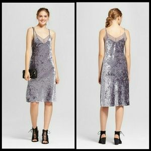 MOSSIMO crushed velvet and lace slip dress