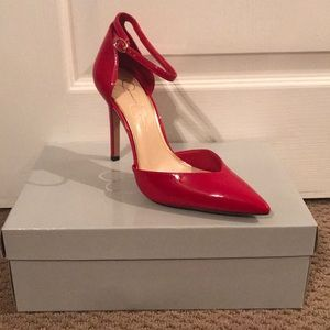 New! Red Jessica Simpson Ankles-strap Heels!