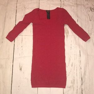Tight red long sleeve sexy dress
