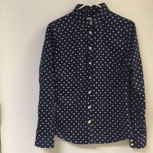 Banana Republic Navy/white polka dot blouse