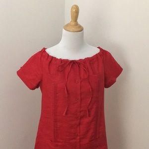Vintage 1960s Off Shoulder Button Up Midi Dress
