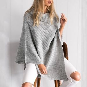 Thick gray turtleneck knit sweater pullover