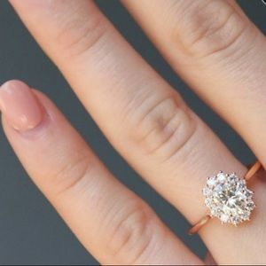 Jewelry - Rose Gold CZ Sterling silver halo engagement ring