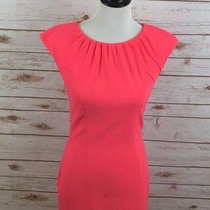 H&M Size 6 Sheath Dress Pink Cap Sleeves Keyhole