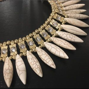 White bead stone statement necklace gold