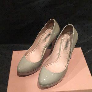 Miu Miu Grey Patent Leather Heels
