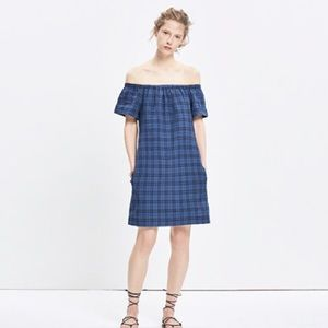 Madewell Plaid Off-The-Shoulder Dress