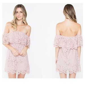 Sugarlips NWT Blush off the Shoulder Lace Dress